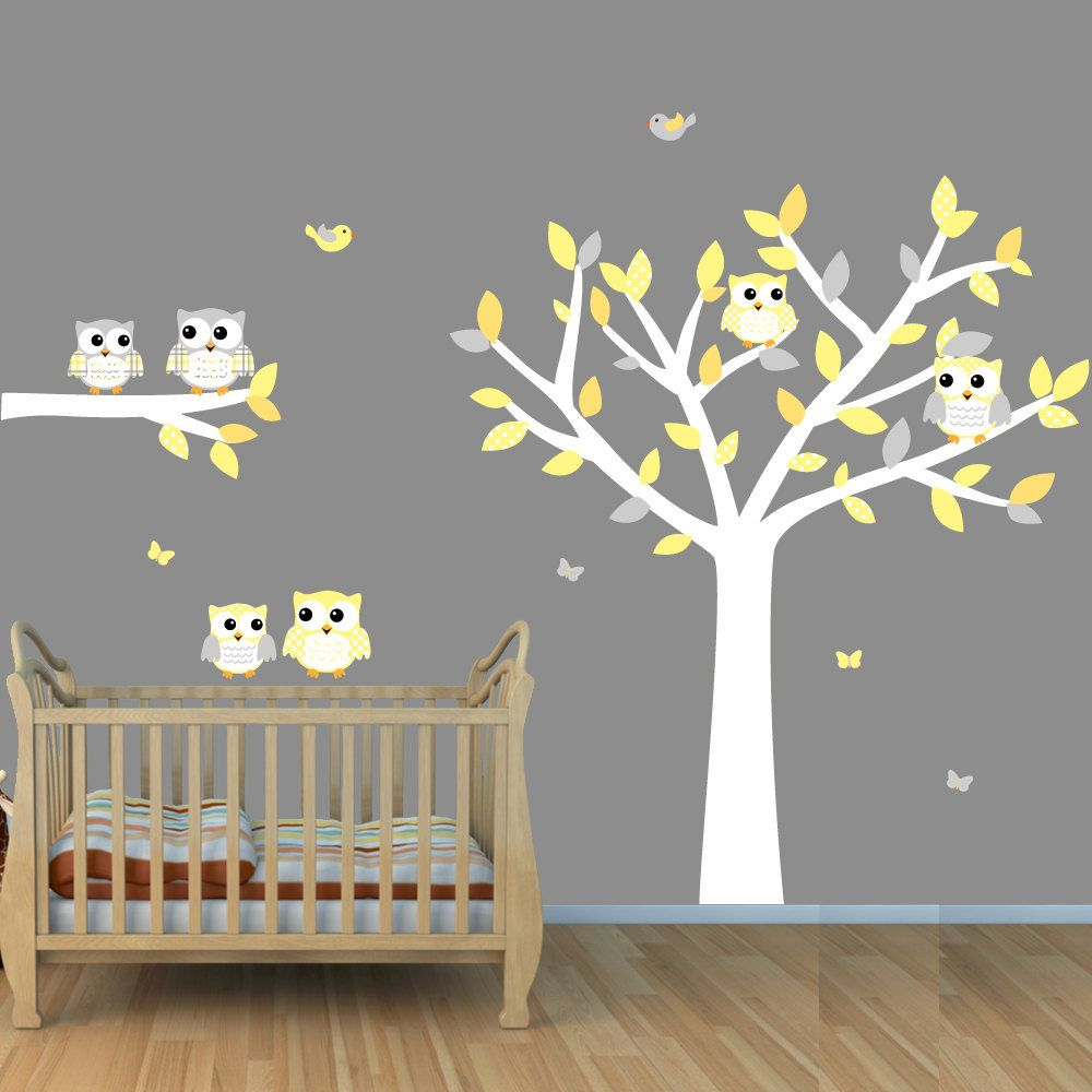 Owl tree wall decals white tree wall stickers with owls for Baby nursery tree mural