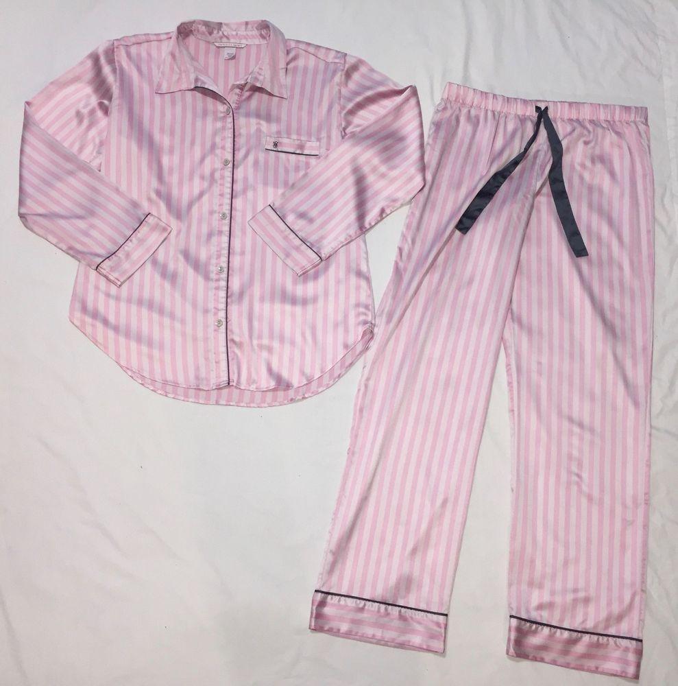 cc4f3c404d M Medium Victoria s Secret Striped Pajama Set Satin Pink White Shirt Pants  VS  fashion  clothing  shoes  accessories  womensclothing  intimatessleep  (ebay ...