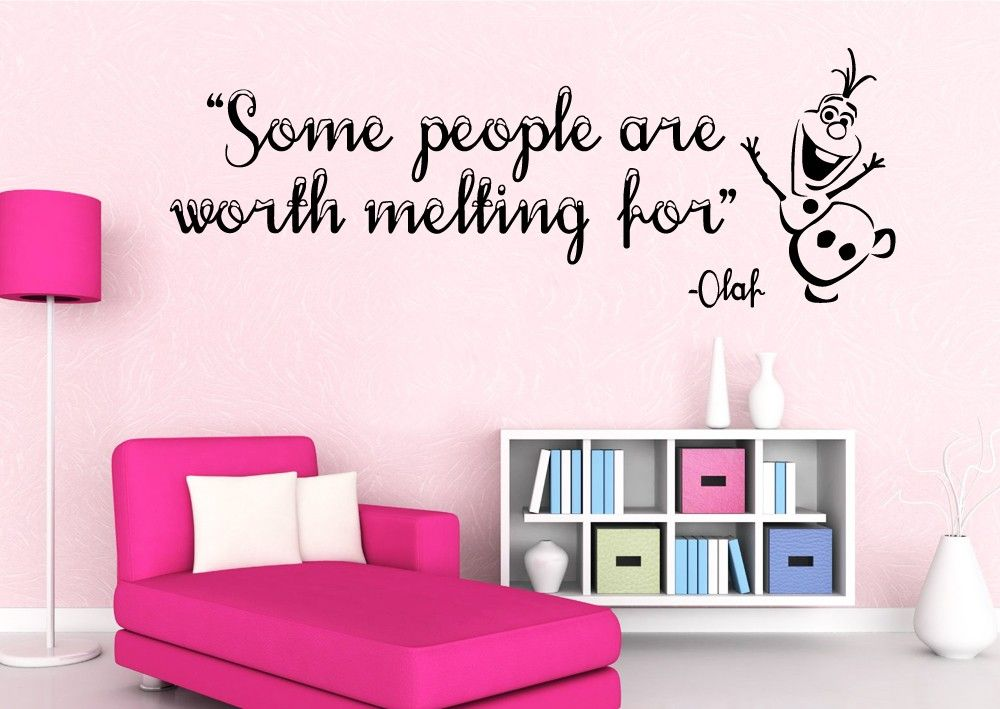 """Frozen Wall Art some people are worth melting for"""" olaf from frozen wall quote"""
