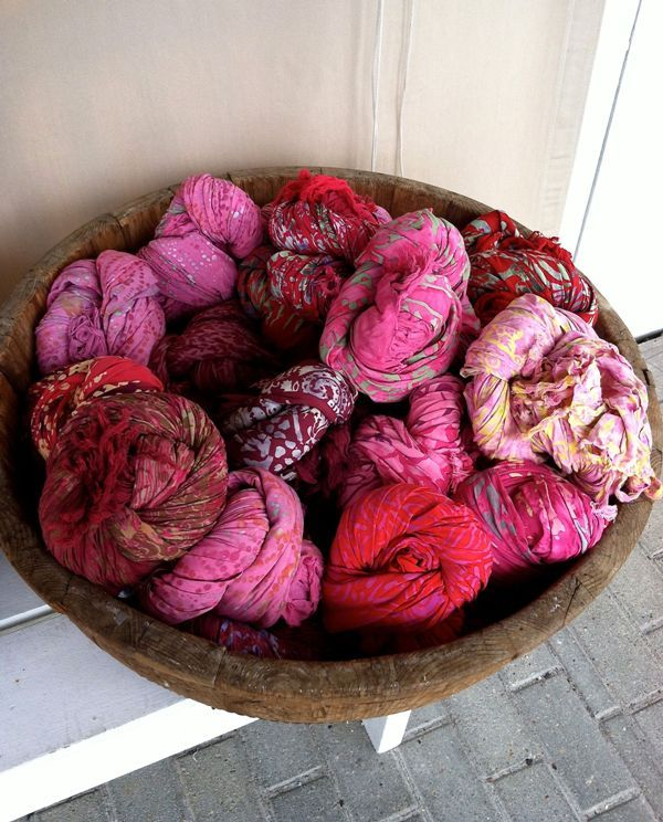 Pink scarves in antique bowl, per-spi-cac-ity, Seaside, Florida