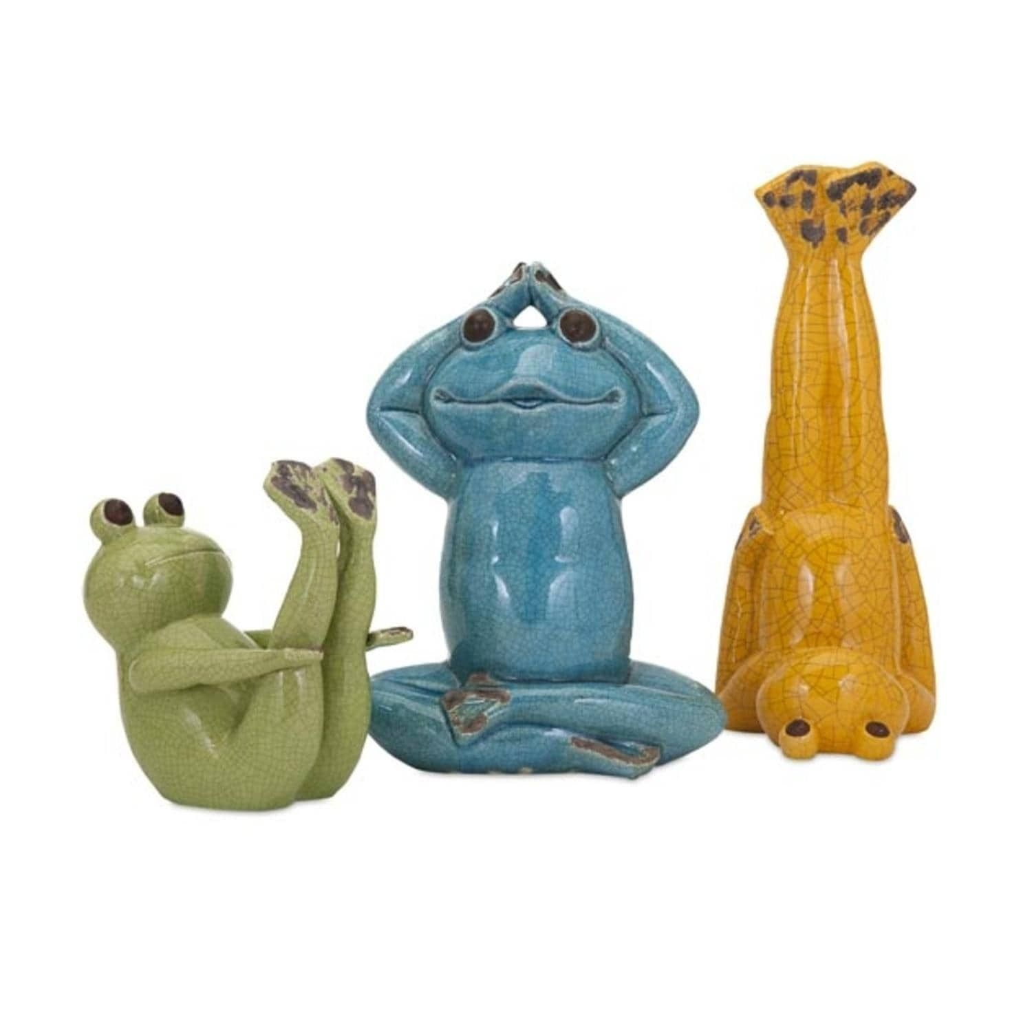 Imax Set Of 3 Ekagrata Colorful Green Blue And Yellow Yoga Frog Patio Garden  Statues,