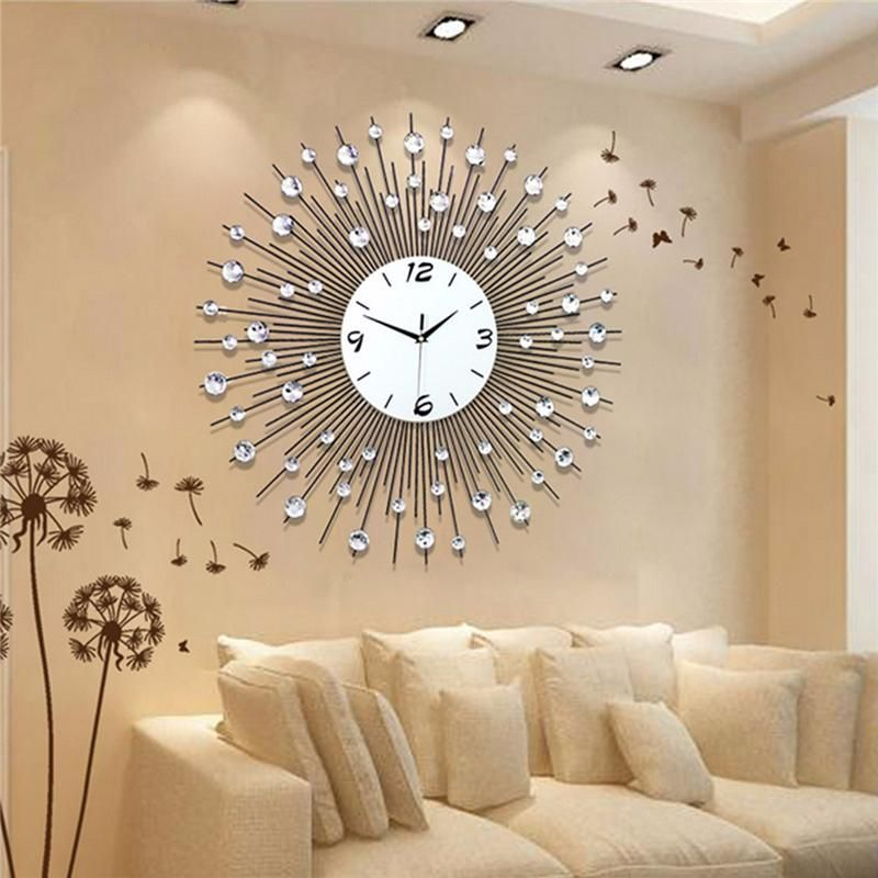 New Luxury Scenic Iron Art Metal Living Room Round Diamond Wall Clock Home  Decor | Wall clocks living room, Living room clocks, Clock wall decor