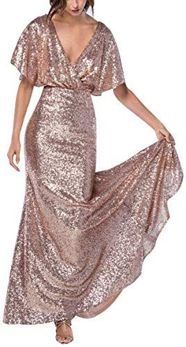 Enjoy exclusive for Sequin Bridesmaid Dresses Long V Neck Mermaid Prom Evening Gown Party  Women 2019 online – Theperfectclothing – Vestido