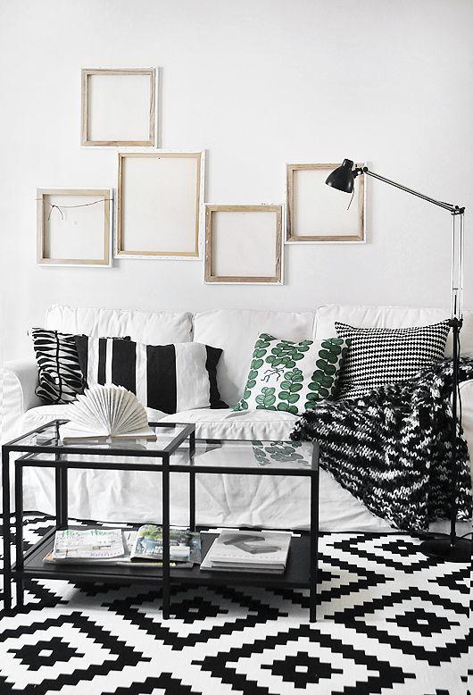Lving Room. Home Decor, Decoration, Black White Carpet, Ikea Carpet, White