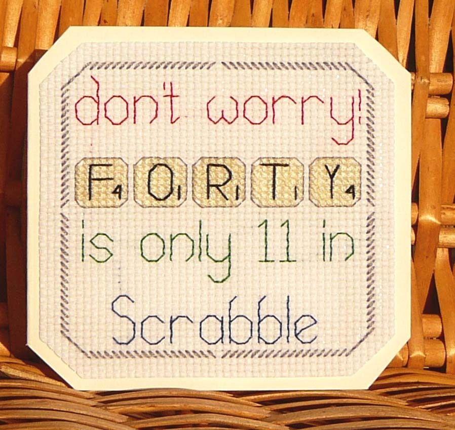 40th Scrabble Birthday Card, Cross Stitch Kit 14 Count No