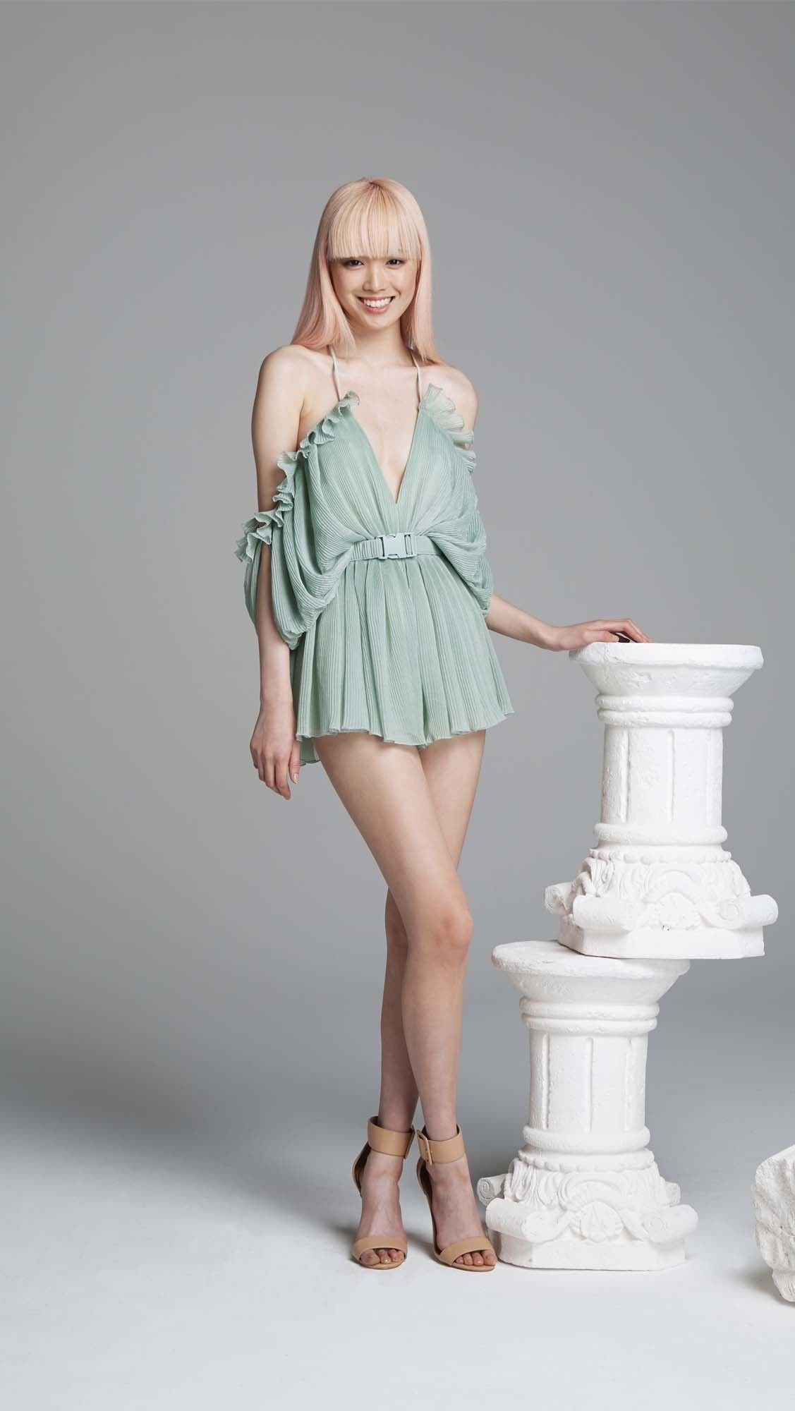 86e32500a5  240 At First Sight Playsuit Pleated Green Moss Off Shoulder - alice McCALL
