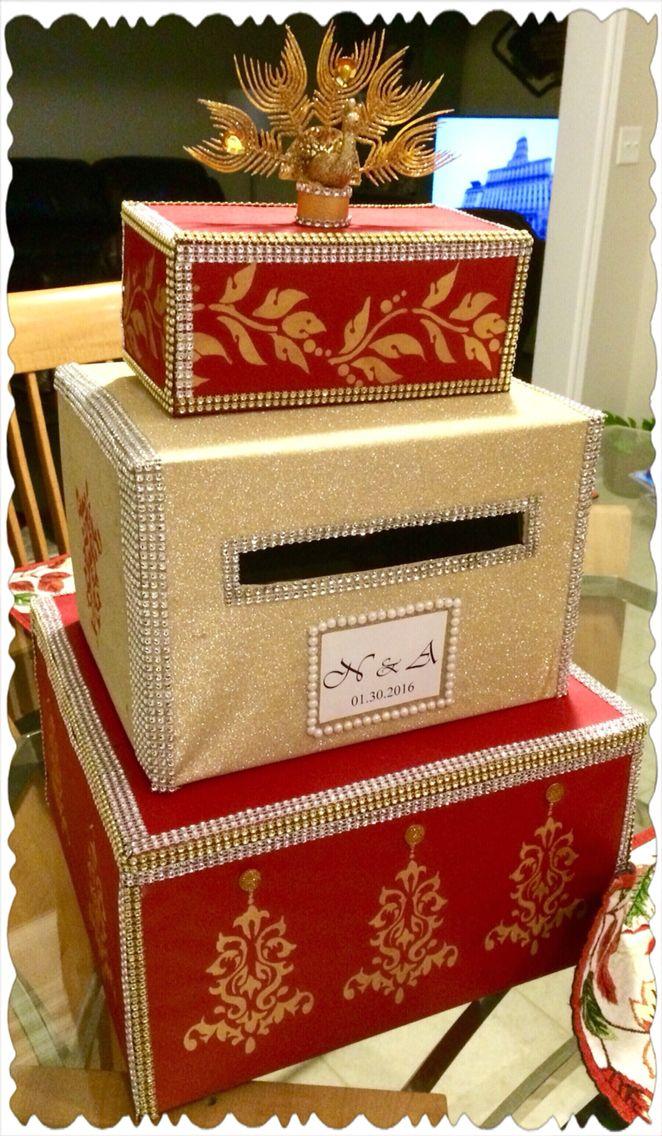 Indian Wedding Money Box Custom Made Red Gold Moneybox