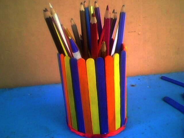 Popsicle Pen Holder Kid Crafts