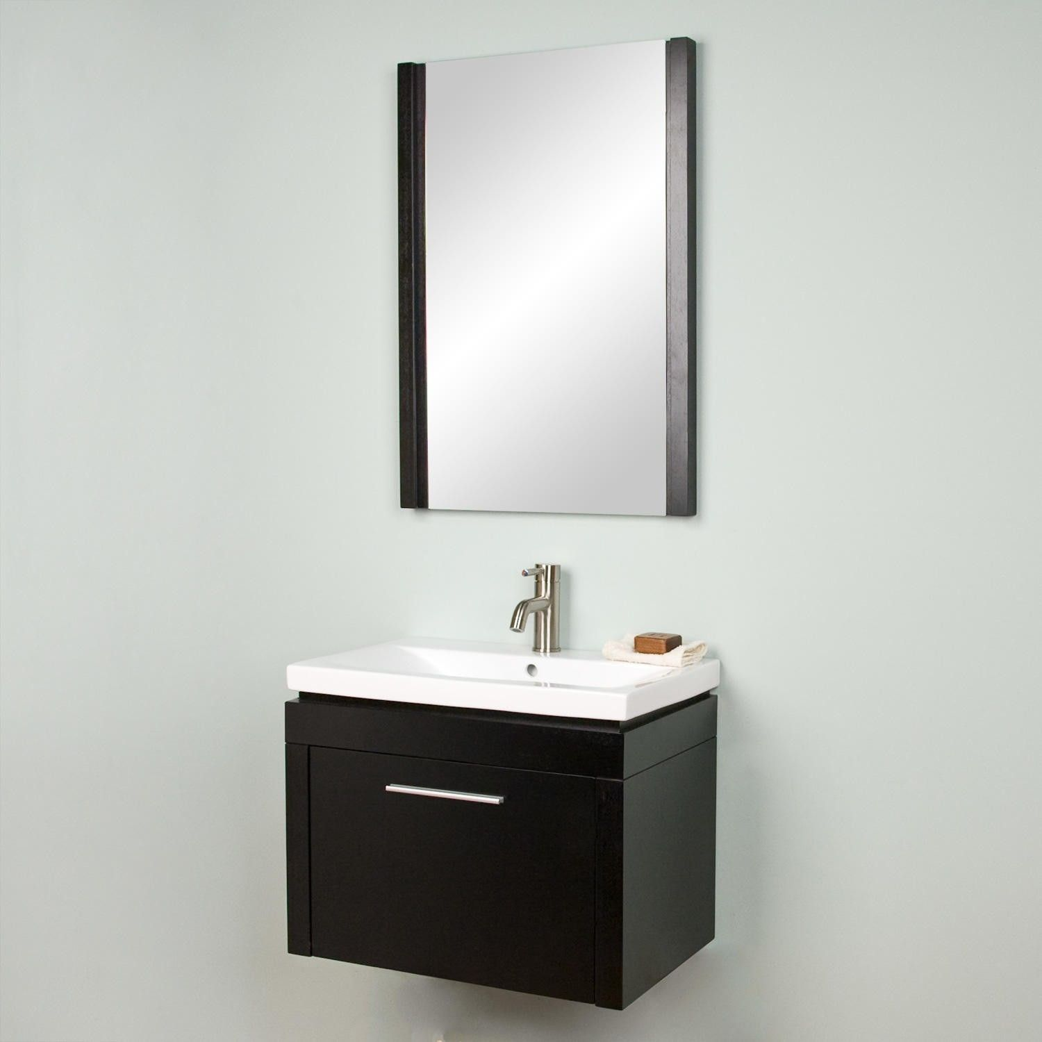 Half Bath Black Or Brown 24 Sven Wall Hung Vanity With Mirror