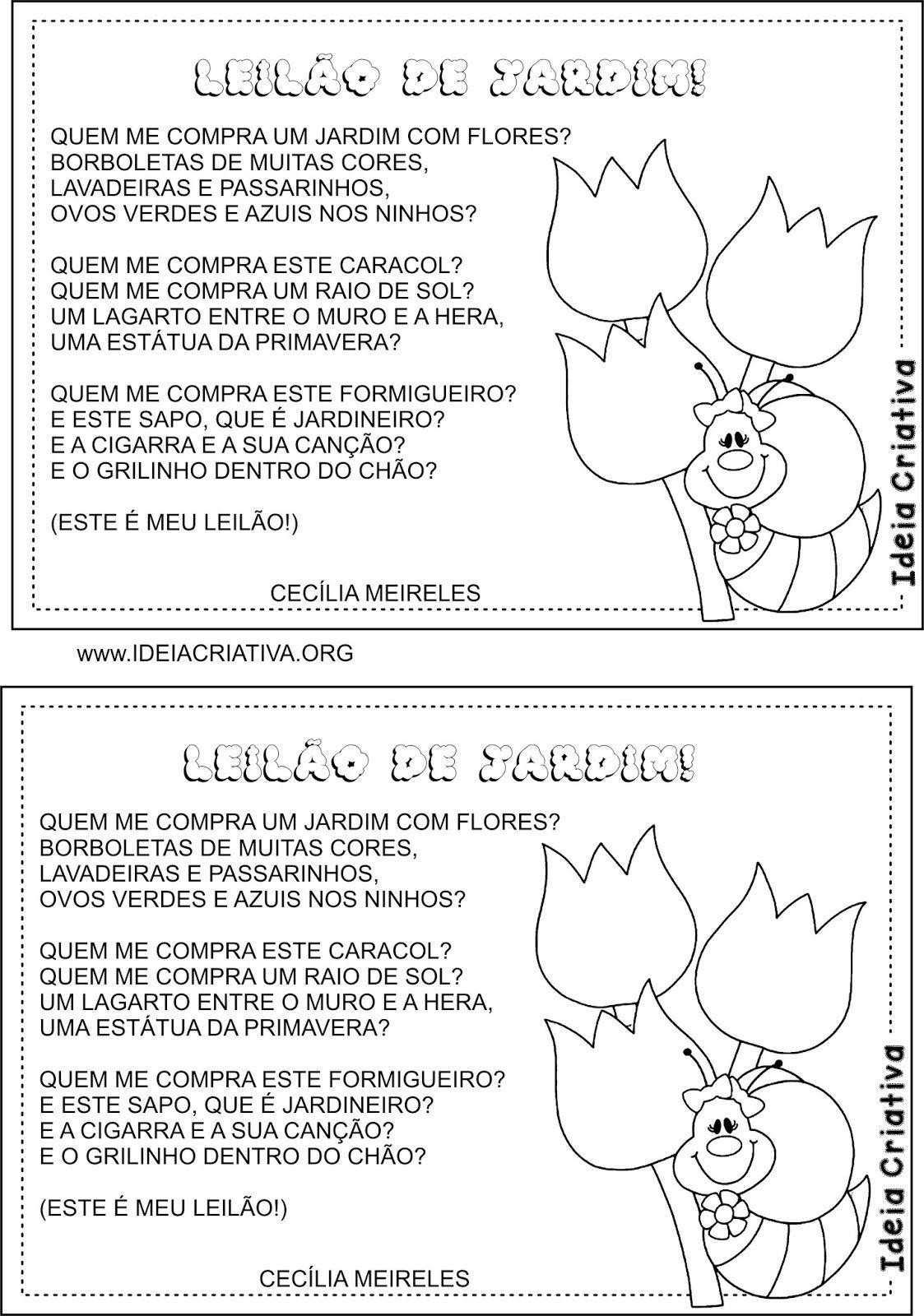 Conhecido Poesia Ilustrada Leilão de Jardim Cecília Meireles   texto  EM25