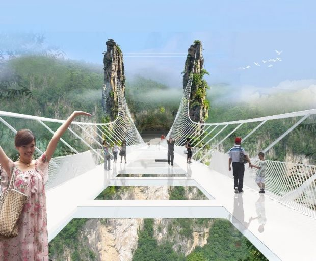 The Zhangjiajie Grand Canyon Glass Bridge: Work will be completed in July, and the official opening is set for October.©Haim Dotan Ltd