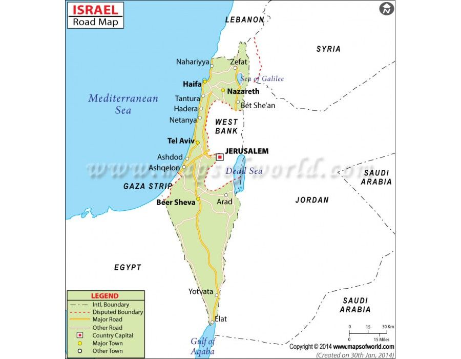 Buy Israel Road Map in Vector Format Israel Country maps and