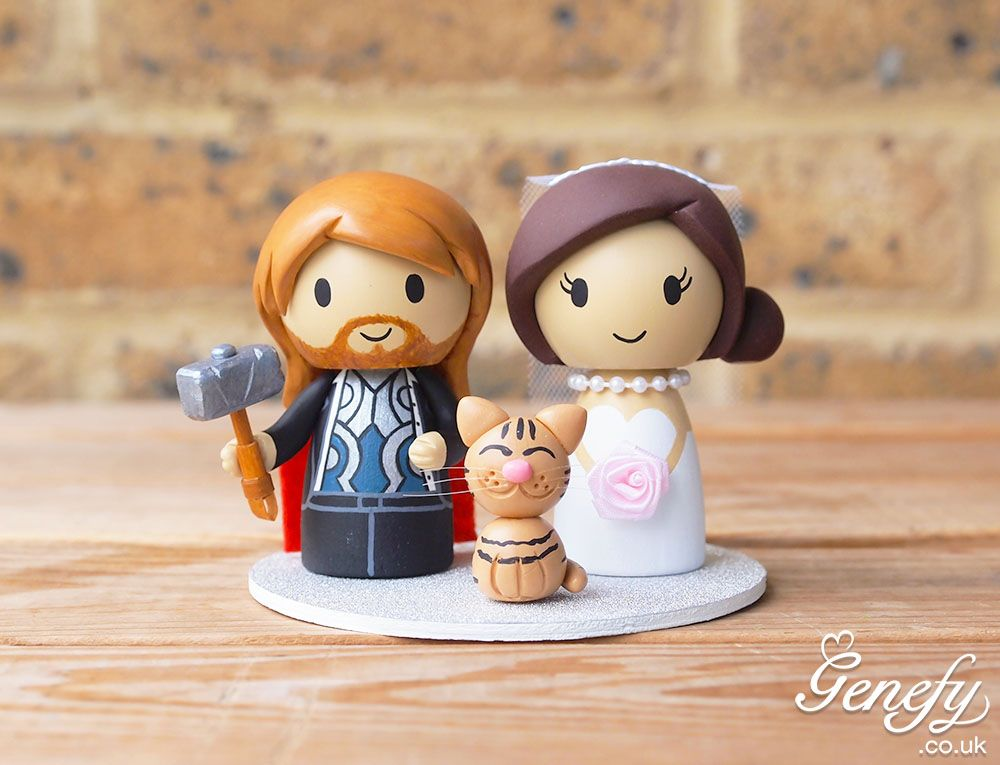 Thor Groom And Bride With Cat Wedding Cake Topper By Genefy Playground
