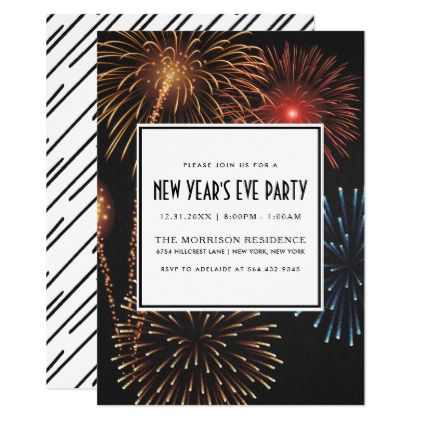 New Year S Eve Party Invitation Modern Fireworks Zazzle Com Modern Invitation New Years Eve Party Fireworks Invitation