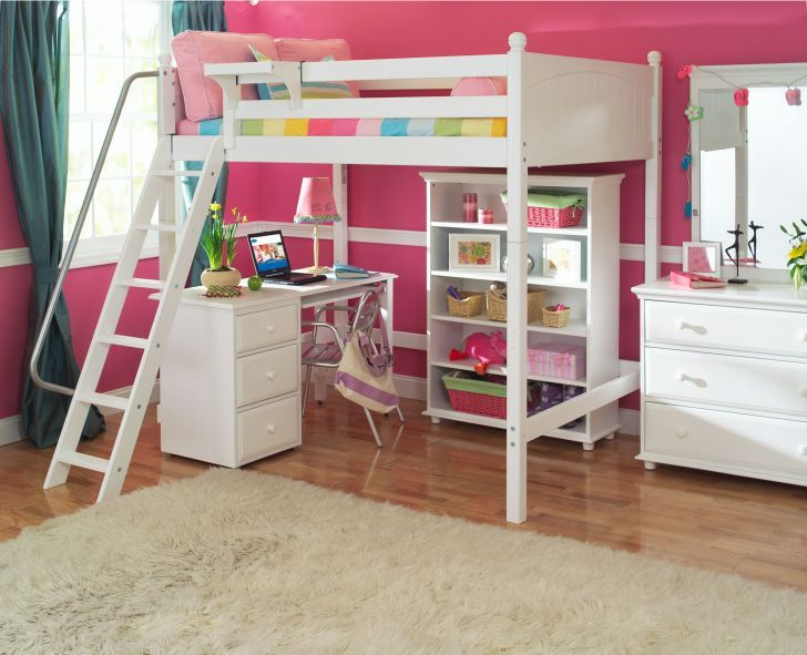 Best White Wooden Bunk Bed For Girl With Desk Underneath And 400 x 300