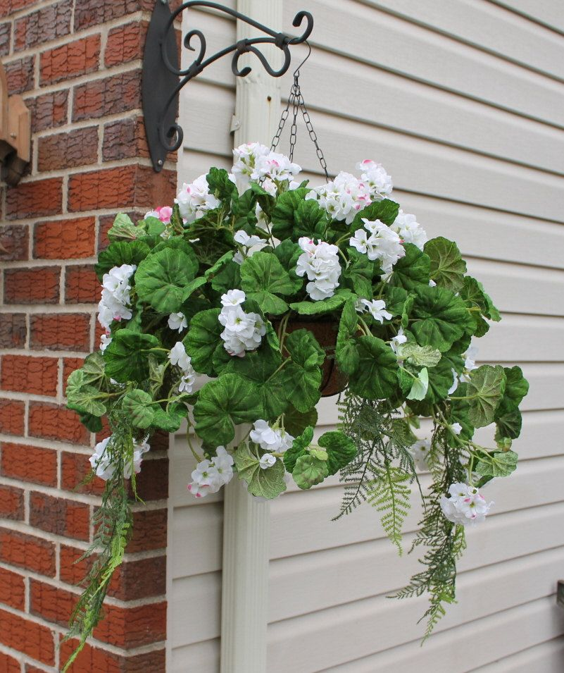 silk hanging plant white with pink geranium by silkeleganceflorals on etsy hanging baskets. Black Bedroom Furniture Sets. Home Design Ideas