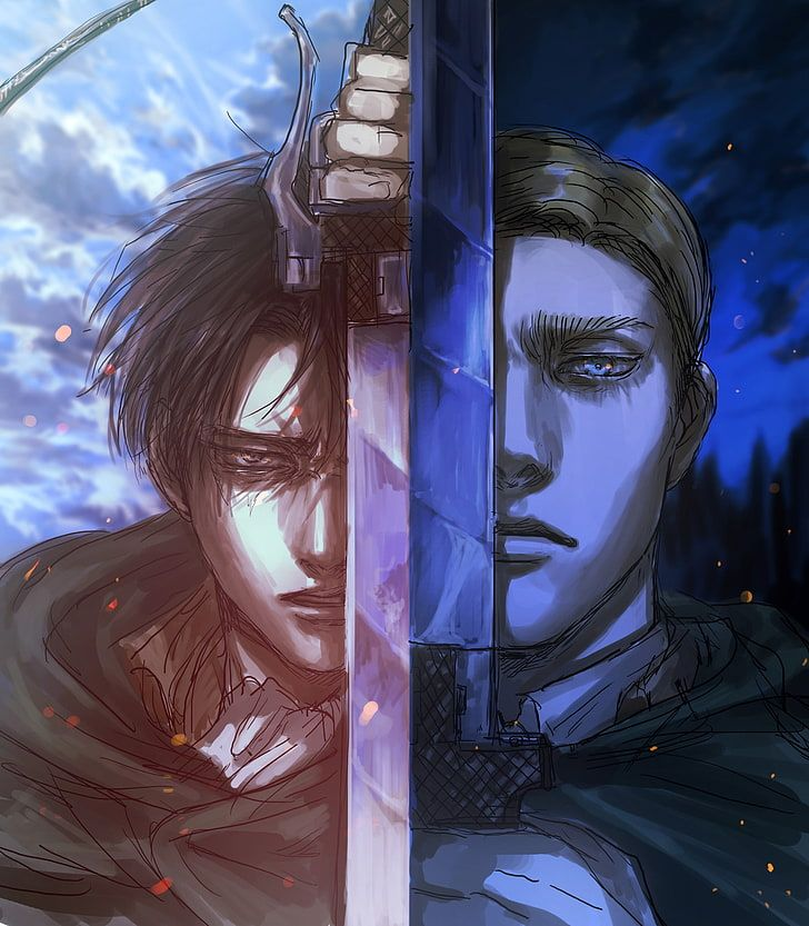 HD wallpaper: shingeki no kyojin, levi, erwin smith, sword, artwork, attack on titan