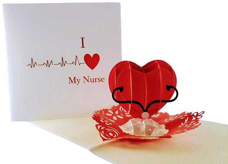 I Heart My Nurse 3D Pop Up Greeting Card