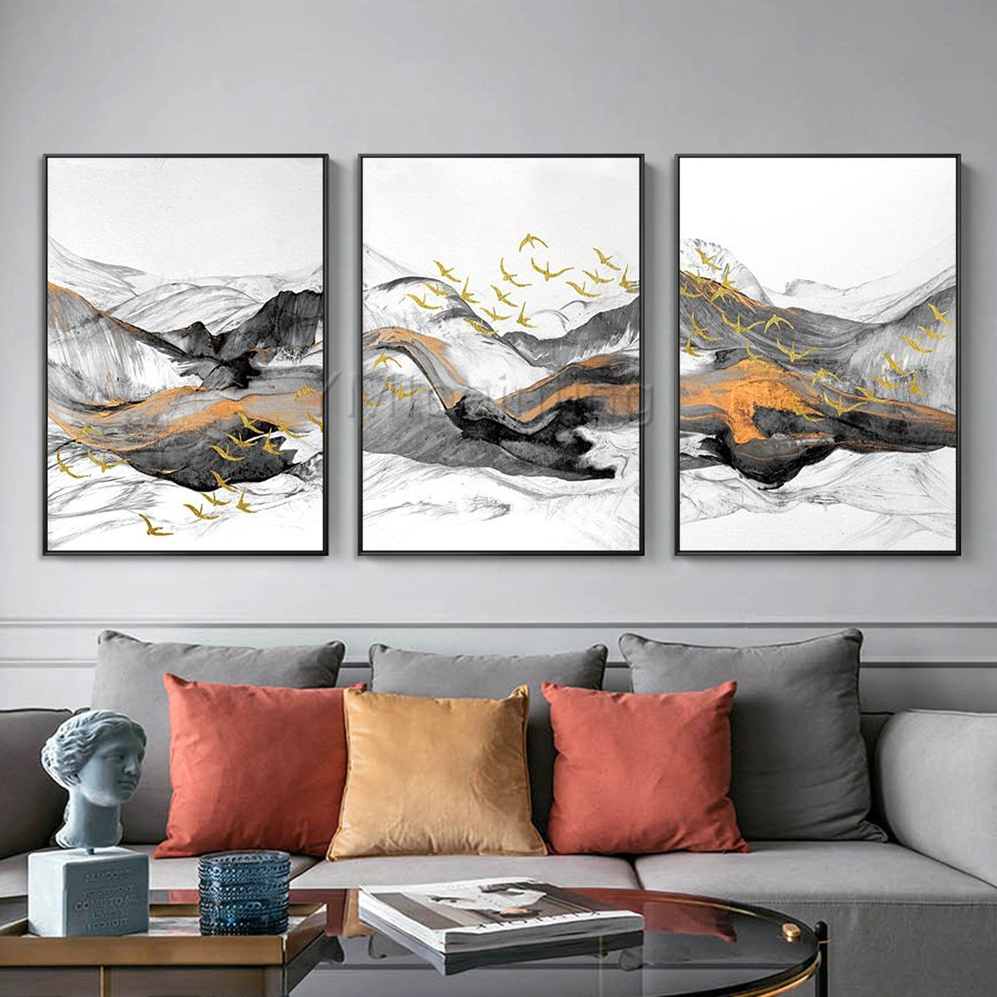 3 Pieces Wall Art Gold Art Abstract Painting Black Paintings Etsy 3 Piece Wall Art Abstract Art Painting Painting Frames