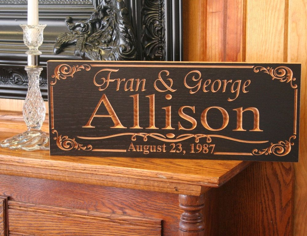Family Name Sign Realtor Closing Gift Engagement Date Carved Wedding Custom Benchmark Signs Walnut Pp