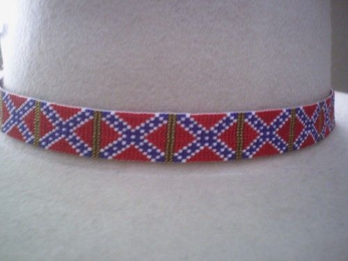 Rebel Flag Hat band Beaded Hatband, Confederate Battle Flag Hatband