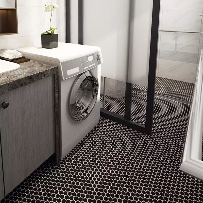 A Matte Black Kitchen Makes A Bold Statement In This: Beautiful Chic 2x2 Black Hex Floor! Simply Brilliant By