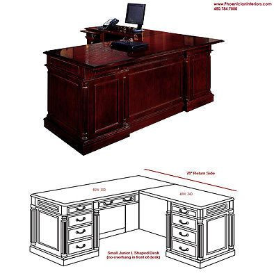 Small Junior ExecutiveShaped Desk CHERRY and WALNUT WOOD Office