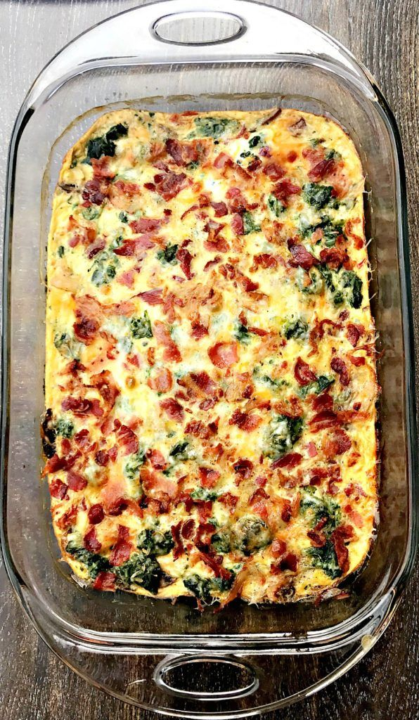 Low-Carb Bacon, Egg, and Spinach Breakfast Casserole #baconfrittata