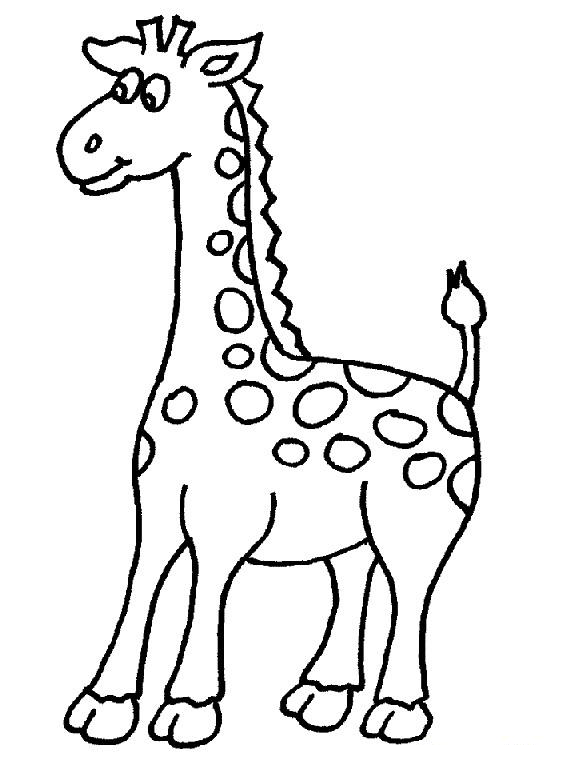 Cute Giraffe Coloring Page For Kids Printable