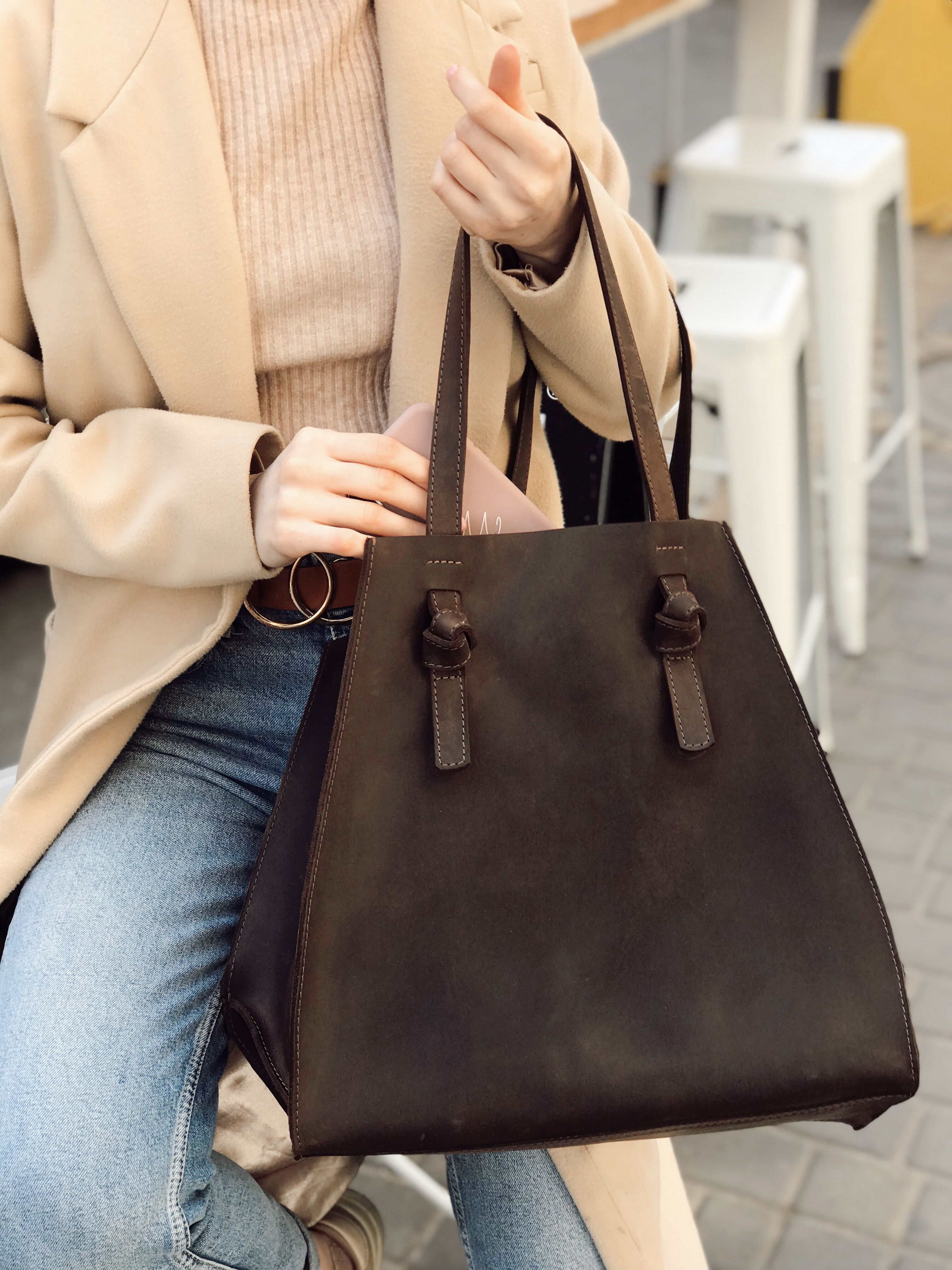 Tote Bag Personnalisable Monogram Tote Bag Large Leather Pull-Up  Tote Bag Tote Bag With Pockets Leather Tote Bag Large Leather Tote