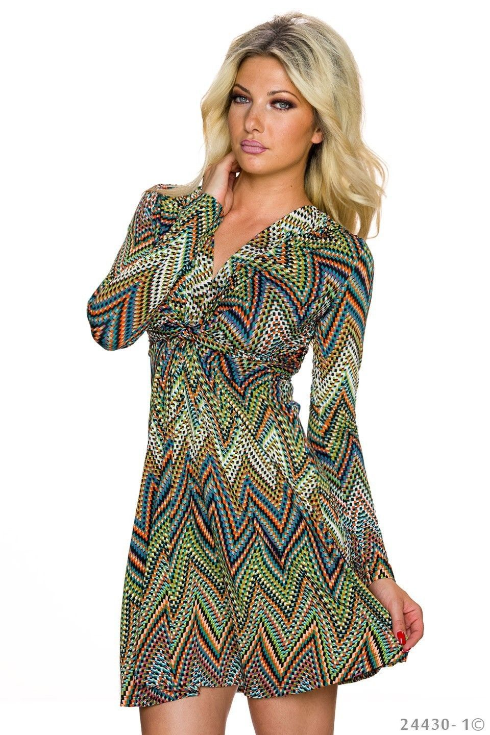5b44f37801 NEW WOMENS PRINTED FIT AND FLARE DRESS WITH FRONT TWIST KNOT AND V-NECK UK  8 Look stylish in the office in this patterned thigh length dress.