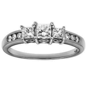 14K White Gold Diamond Past, Present and Future Anniversary Ring (1.00 cttw, H-I Color, I1-I2 Clarity), Size 9 - http://finejewelrygalleria.com/jewelry/14k-white-gold-diamond-past-present-and-future-anniversary-ring-100-cttw-hi-color-i1i2-clarity-size-9-com/