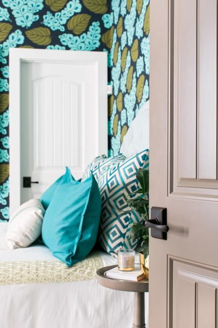 Guest Bedroom Pictures From HGTV Smart Home 2016. Green Floral WallpaperHgtv  ...