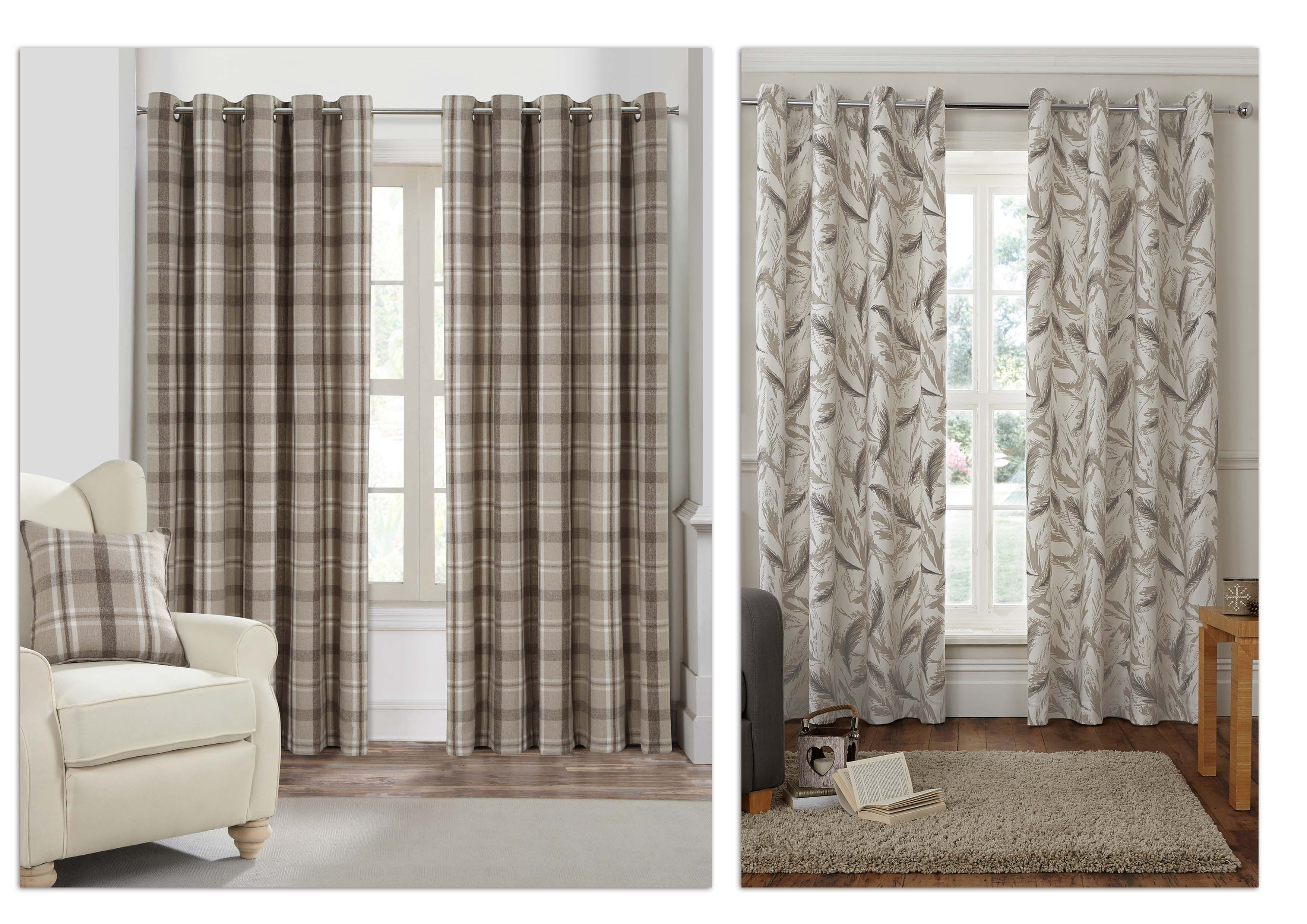 Rustic Woodland Woven Check Curtains, Feather Printed Curtains