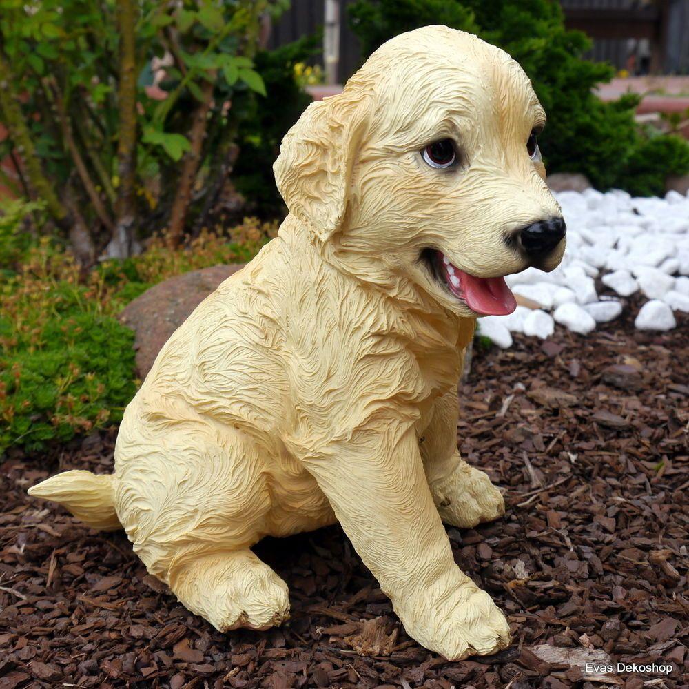 Inspirational Golden Retriever Welpe Gartenfigur lebensecht Hund Hunde Goldi Garten