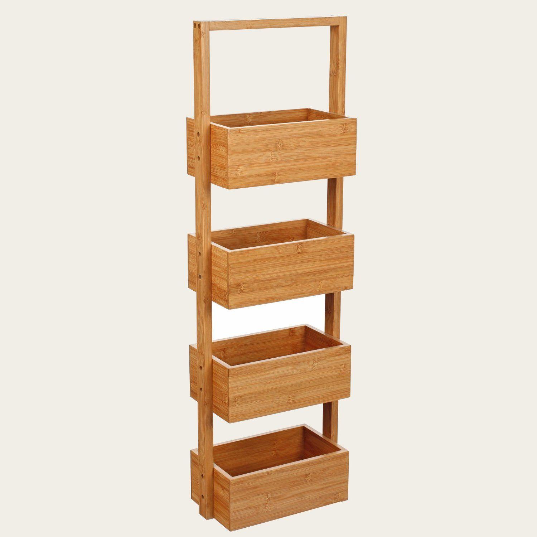 Mueble De Bambu Con 4 Estanterias Amazon Es Hogar Decoraci N  # Muebles Debambu