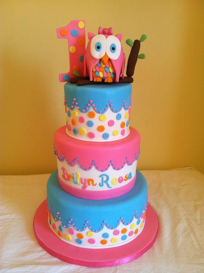 1st Birthday Owl Cake Childrens Birthday Cakes Birthday Party