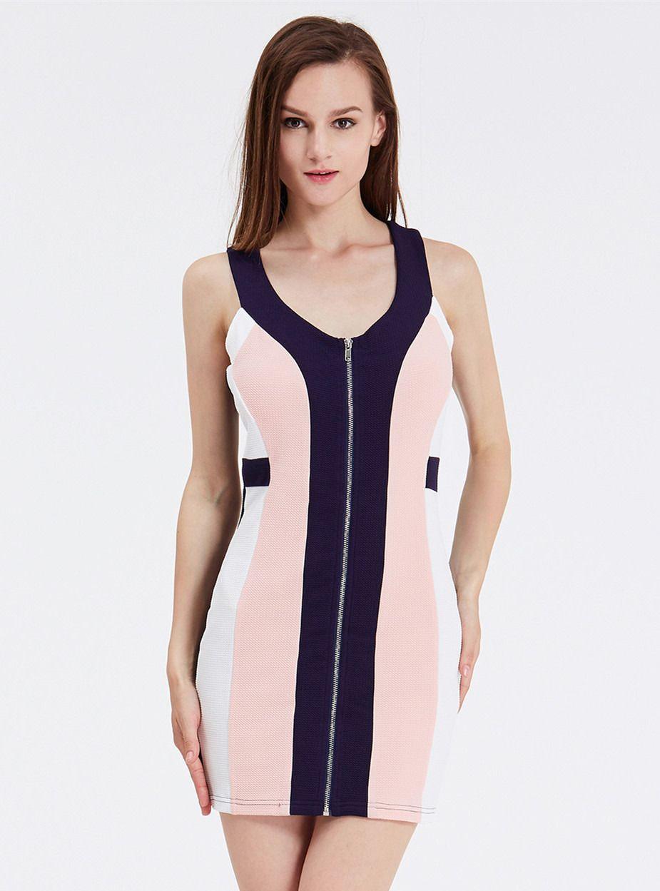 Navy Sleeveless Color Block Zipper Dress 15.99