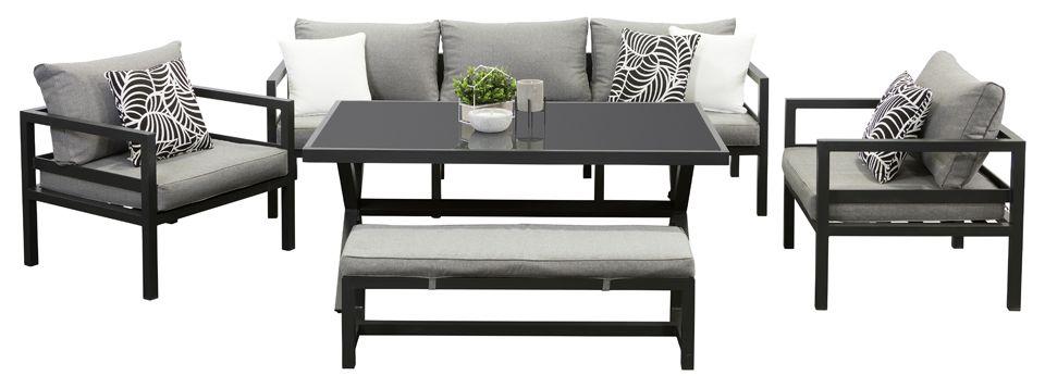 Aqua 3 Seat Dining Sofa Set Black   Outdoor Lounge   Segals Outdoor  Furniture Perth