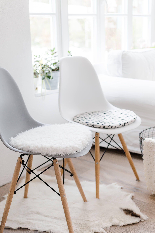 Eames Chair Cushion Orange Modern Seat For Eameschair Of Synthetic Fur In Ecru 2019 White Limitiert Von Pomponettiinterior Auf Etsy