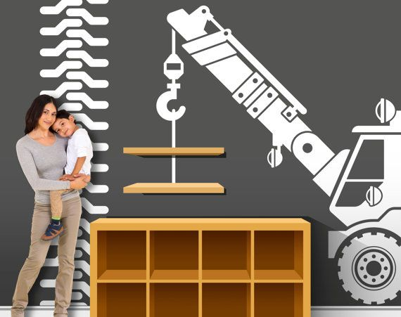Construction truck decorations construction wall decor for Construction themed bedroom ideas