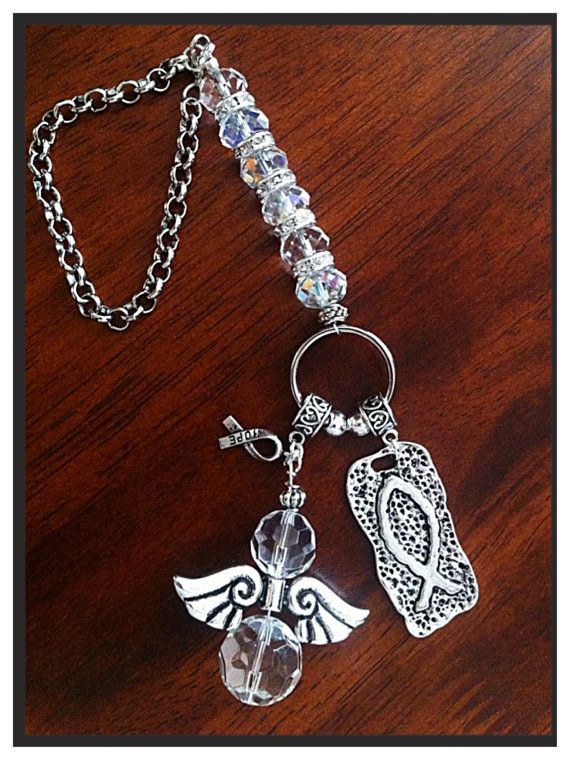 Antique Silver Guardian Angel Car Charm Hanging Lucky Charm Driving Test Gift