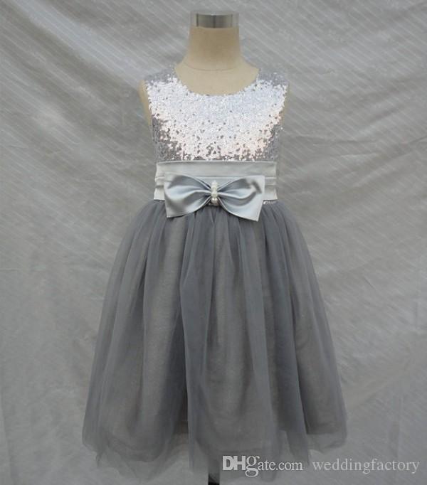 fca4cd7b411 Bling Bling Flowers Girl Dresses Wedding Silver Grey Sequins Sash Bow Tulle  Flower Girls  Formal Gown