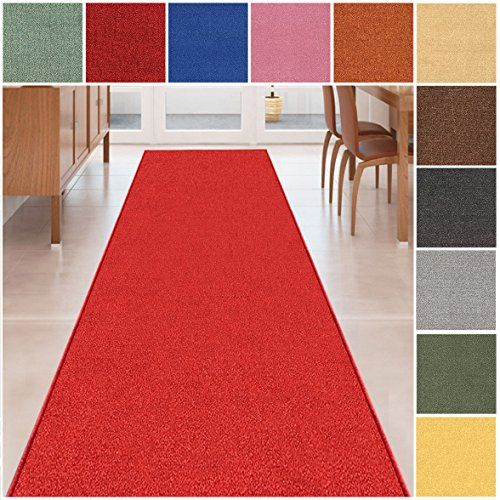 Custom Size Scarlet Red Solid Plain Rubber Backed Non Slip Hallway Stair Runner Rug Carpet 22 Inch Wide Choose Your Length 22in X 27ft