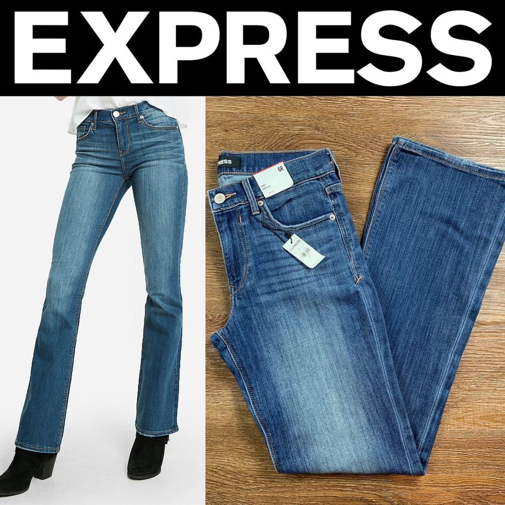 Details about new express mid rise medium wash stretch