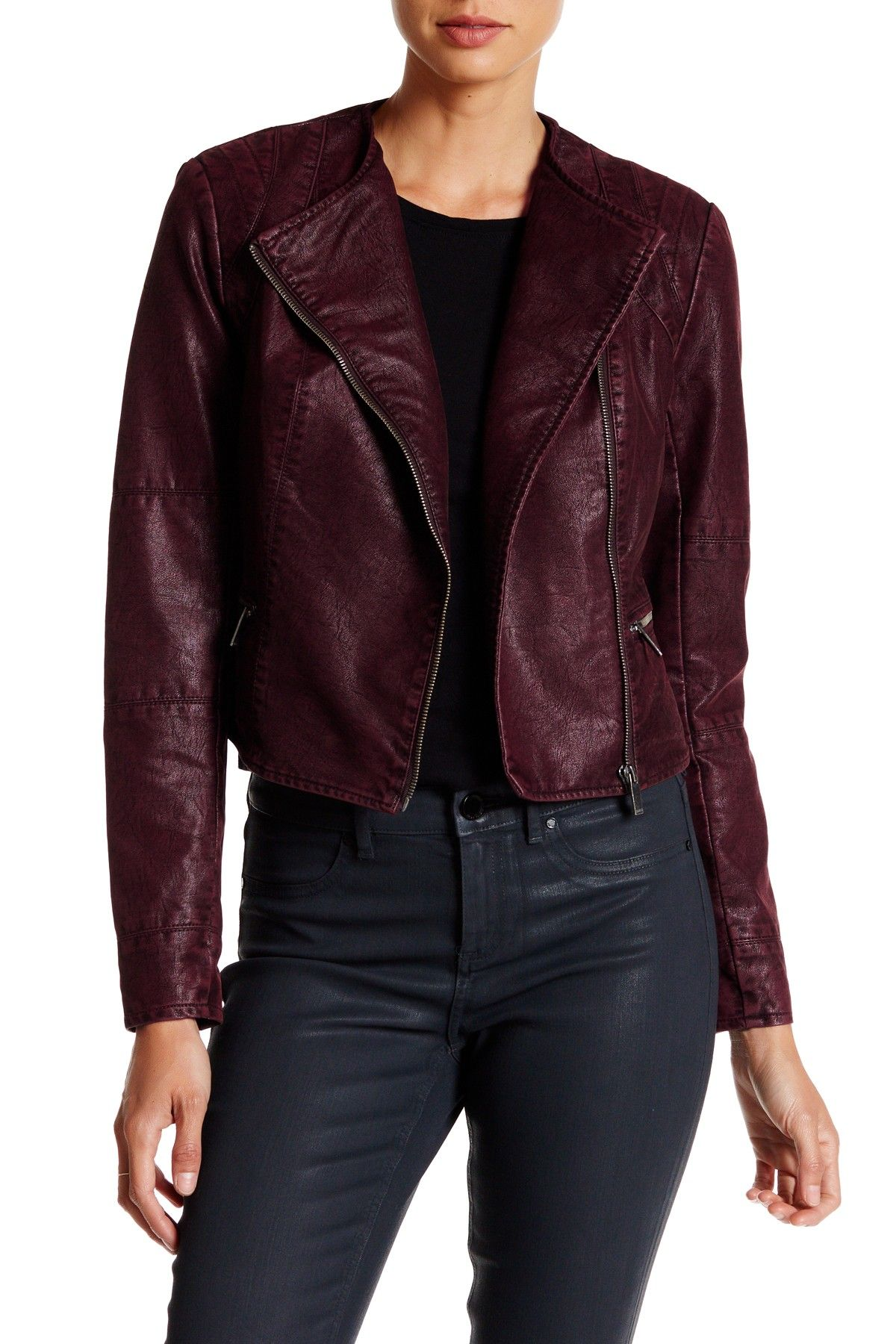 Leather jacket nordstrom rack - Bnci By Blanc Noir Asymmetrical Zip Crop Faux Leather Jacket At Nordstrom Rack Free