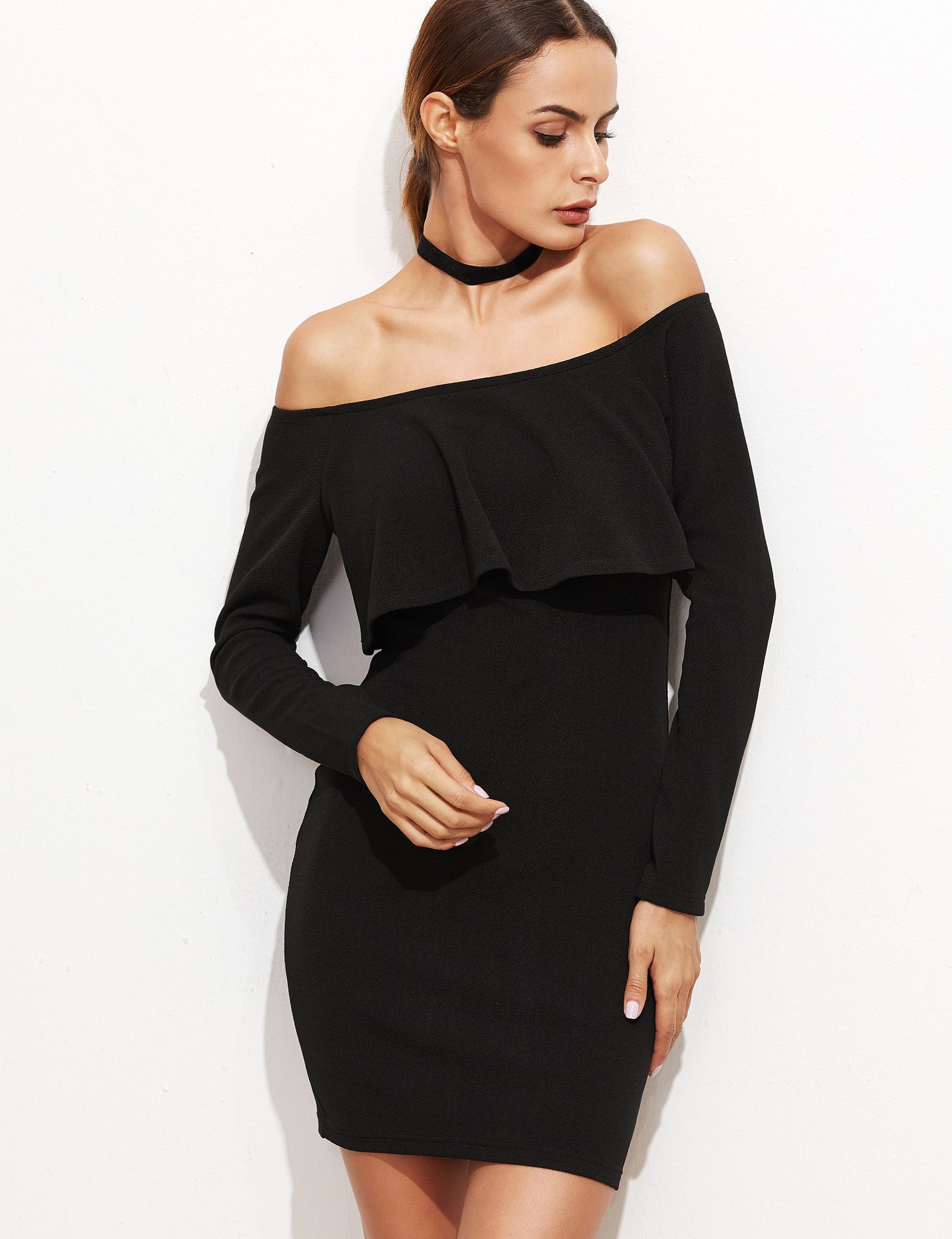795b1a2c3616 ... L:31cm Fabric: Fabric has some stretch Season: Fall Pattern Type: Plain  Sleeve Length: Long Sleeve Color: Black Dresses Length: Short Style: Party  ...