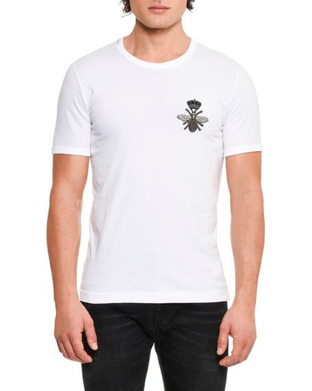 Dolce & Gabbana Crown & Bee Embroidered Cotton T-Shirt, White