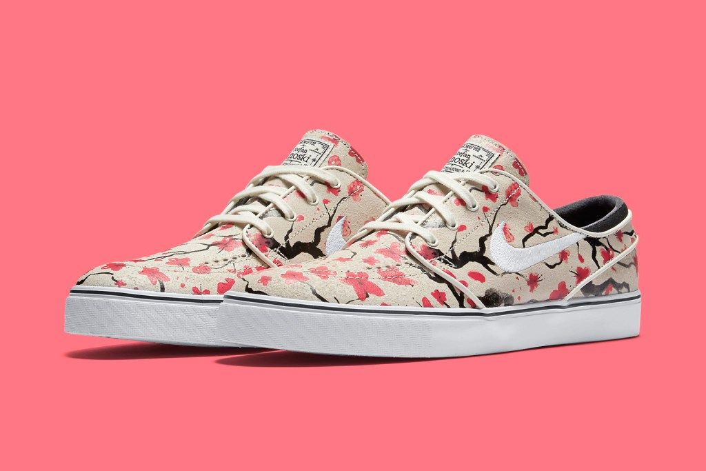 The Nike SB Stefan Janoski Cherry Blossom is the latest Nike Skateboarding  favorite to don the Hiroshige-like floral print, setting pink blooms  against .