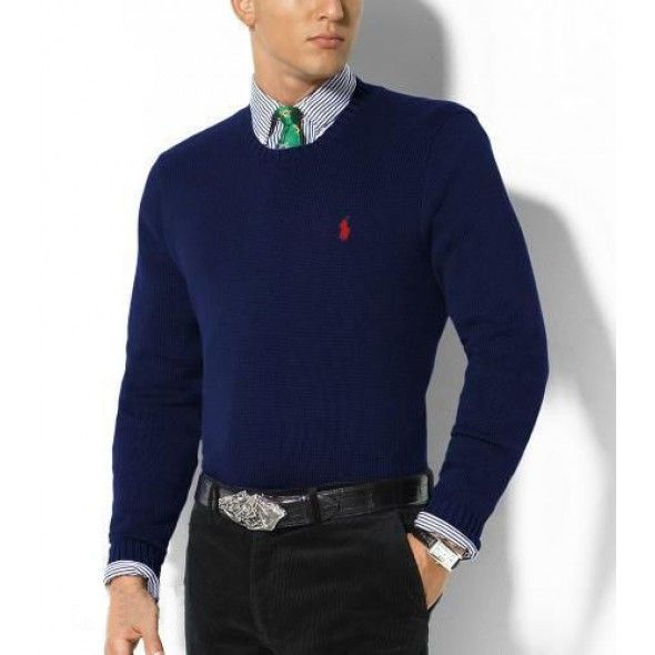 Ralph Lauren Darkblue Mesh Round Neck Sweaters Men $38.30